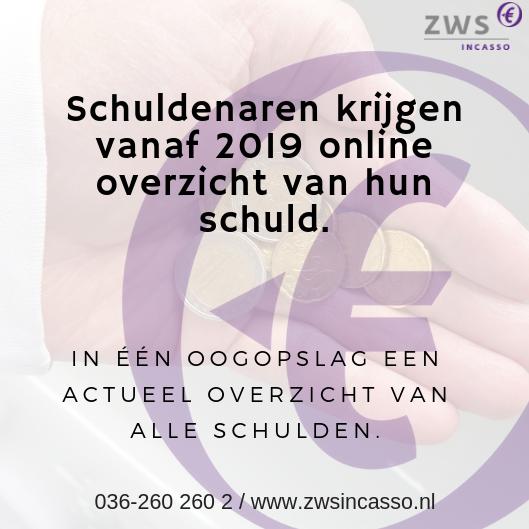 ZWS Incasso_Schuldenaren krijgen vanaf 2019 online overzicht van hun schulden